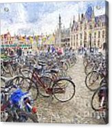 Bicycles in Brugge Acrylic Print