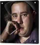 Big Mob Boss Smoking Cigarette Dark Background Acrylic Print