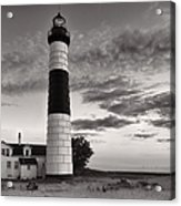 Big Sable Point Lighthouse In Black And White Acrylic Print