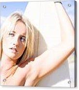 Blond Sports Girl Holding Surfboard Acrylic Print