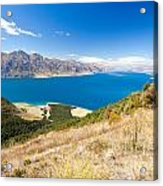 Blue Surface Of Lake Hawea In Central Otago In New Zealand Acrylic Print