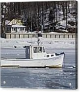 Boat And Ice Hobart Beach Ny Acrylic Print