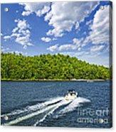 Boating On Lake Acrylic Print by Elena Elisseeva