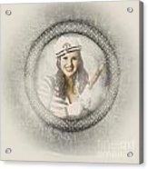 Boating Pin-up Woman On Nautical Shipping Voyage Acrylic Print