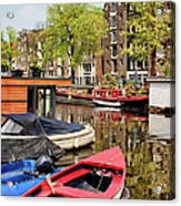 Boats On Canal In Amsterdam Acrylic Print