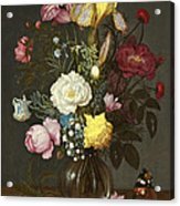 Bouquet Of Flowers In A Glass Vase Acrylic Print