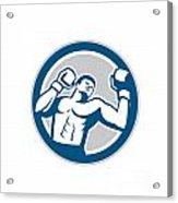 Boxer Boxing Boxing Circle Retro Acrylic Print by Aloysius Patrimonio