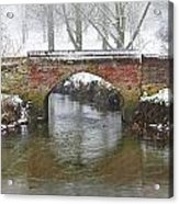 Bridge Over River In A Snowstorm Acrylic Print