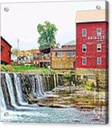 Bridgeton Mill And Covered Bridge Acrylic Print