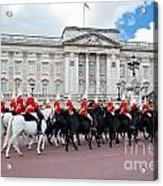 British Royal Guards Perform The Changing Of The Guard In Buckingham Palace Acrylic Print