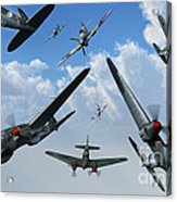 British Supermarine Spitfires Attacking Acrylic Print