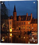 Bruges Rozenhoedkaai Night Scene Acrylic Print by Kiril Stanchev