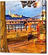 Budapest By Night Paint Acrylic Print