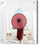 Buddhist Monk Walking Along Temple Acrylic Print