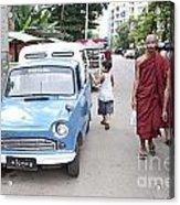 Buddhist Monks In Yangon Street Myanmar Acrylic Print