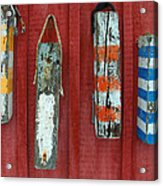 Buoys At Rockport Motif Number One Lobster Shack Maritime Acrylic Print by Jon Holiday