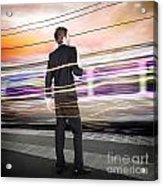Business Man At Train Station Railway Platform Acrylic Print