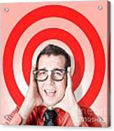 Business Man In Fear On Target Background Acrylic Print