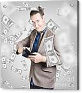 Businessman Under Falling Money. Financial Success Acrylic Print