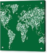 Butterflies Map Of The World Map Acrylic Print by Michael Tompsett