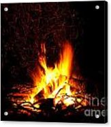 Campfire As A Symbol Of Warmth And Life On Black Acrylic Print