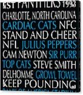 Carolina Panthers Acrylic Print by Jaime Friedman