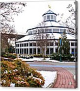 Carousel Building In The Snow Acrylic Print by Tom and Pat Cory