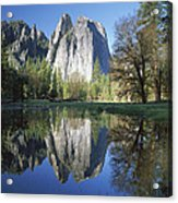 Cathedral Rock And The Merced River Acrylic Print