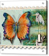 1 Cent Butterfly Stamp Acrylic Print