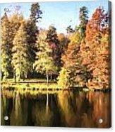 Cezanne Style Digital Painting Beautiful Landscape Of Autumn Trees And Colors Reflected In Lake Acrylic Print