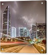Charlotte Nc Usa Skyline During And After Winter Snow Storm In January Acrylic Print