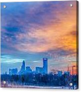 Charlotte The Queen City Skyline At Sunrise Acrylic Print