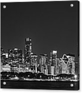 Chicago Skyline At Night Black And White Panoramic Acrylic Print