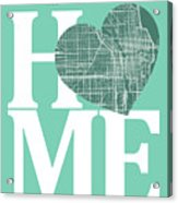 Chicago Street Map Home Heart - Chicago Illinois Road Map In A H Acrylic Print