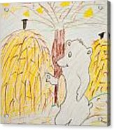 Child Painting Of Bear In Forest Acrylic Print