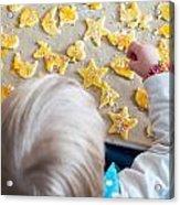Children Baking Christmas Cookies Acrylic Print