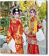 Children Dressed In Full Traditional Chinese Opera Costumes. Acrylic Print