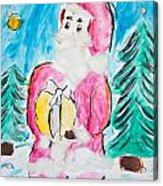 Child's Drawing Of Santa Claus With Watercolors Acrylic Print
