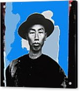 Chinese Man In Traditional Dress Circa 1882 Collage Tucson Arizona 1882-2013 Acrylic Print