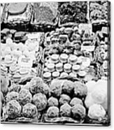 chocolates on display inside the la boqueria market in Barcelona Catalonia Spain Acrylic Print