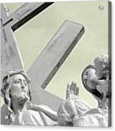 Christ On The Cross With Mourners Saint Joseph Cemetery Evansville Indiana 2006 Acrylic Print