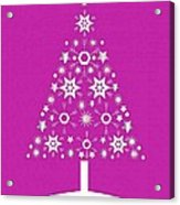 Christmas Tree Made Of Snowflakes On Pink Background Acrylic Print