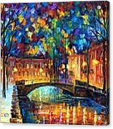 City Bridge Acrylic Print by Leonid Afremov