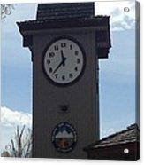 City Of Jackson Hole Clock Acrylic Print