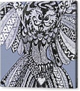Close Up Owl Blue Acrylic Print