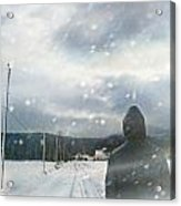 Closeup Of Man Walking On Snowy Winter Road Acrylic Print