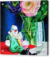 Clown Book And Flowers Acrylic Print