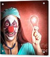 Clown Doctor Holding Red Emergency Lightbulb Acrylic Print