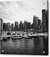 coal harbour marina and high rise apartment condo blocks in the west end Vancouver BC Canada Acrylic Print by Joe Fox