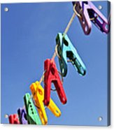 Colorful Clothes Pins Acrylic Print